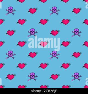 Herz mit Pfeil und Totenkopf mit Kreuzknochen, handgezeichnete Doodle-Illustration, nahtloses Musterdesign auf blauem Hintergrund