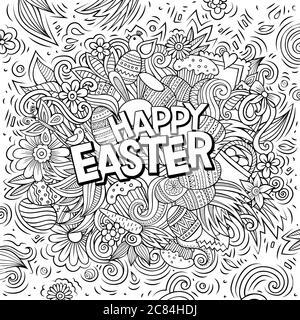 Happy Easter handgezeichnete Cartoon-Kritzeleien Illustration. - Stockfoto