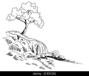 Vintage Abbildung Der Schönen Wasserfall Gezeichnet Lizenzfrei Nutzbare  Vektorgrafiken, Clip Arts, Illustrationen. Image 77402384.