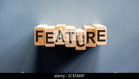 """Holzblock bilden den Text """"feature"""" auf schönen Leinwand Hintergrund. Geschäftskonzept. - Stockfoto"""