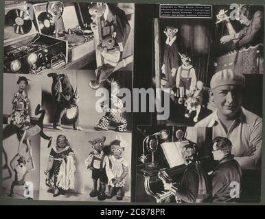 Professor Josef Skupa (1892-1957) war ein tschechischer Puppenspieler, der Anfang der 1920er Jahre seine berühmtesten Puppen schuf: Den komischen Vater Spejbl und seinen raschalischen Sohn Hurvinek, der 1930 das erste] moderne professionelle Puppentheater aufbaute. Während der nationalsozialistischen Besetzung der Tschechoslowakei führte Skupa auf Hunderten von Bühnen in der gesamten Tschechoslowakei satirische und allegorische Puppenspiele durch, die zur Inhaftierung der Marionetten durch die Nazis führten (in einem Aktenschrank!) Für das sein im Allgemeinen zu subversiv. Nach 1945 produzierte Skupa weiterhin Arbeit für Kinder und Erwachsene in der Tschechoslowakei und trat auch im Ausland auf. Phot