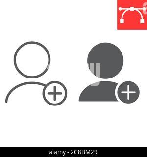 Fügen Sie neue Benutzerzeile und Glyph Symbol, ui und Schaltfläche, Konto Zeichen Vektorgrafiken, editierbare Kontur linearen Symbol, eps 10. - Stockfoto