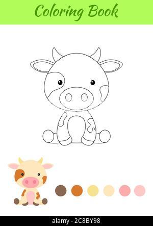 Malvorlagen kleine sitzende Kuh. Bild für Kinder. Pädagogische Aktivität für Kinder und Kleinkinder im Vorschulalter mit niedlichen Tier. - Stockfoto