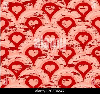 vektordarstellung eines Grunge Herz Symmetrie-Muster