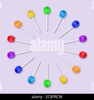 Satz von bunten Lutscher gruppiert in einem Kreis isoliert auf hellem purpurHintergrund. Süßigkeiten auf einem Stock. Hintergrund für das Essen. Flach liegend. - Stockfoto
