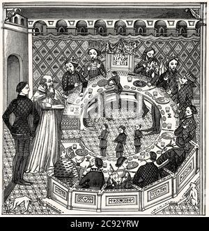 König Arthur und die Ritter des runden Tisches, nach einer Miniatur aus dem 14. Jahrhundert - Stockfoto