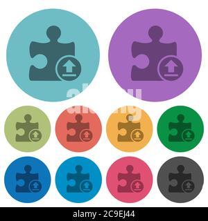 Laden Sie Plugin dunklere flache Symbole auf Farbe runden Hintergrund - Stockfoto
