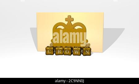 3D-Grafik-Bild der KRONE vertikal zusammen mit Text von metallischen kubischen Buchstaben aus der oberen Perspektive gebaut, ausgezeichnet für das Konzept Präsentation und Diashows. Illustration und Hintergrund - Stockfoto