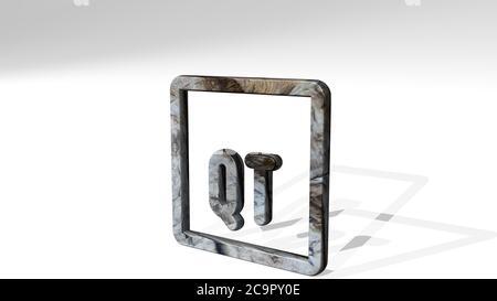 vide Dokument QT werfen Schatten mit zwei Lichtern. 3D-Illustration von metallischen Skulptur auf einem weißen Hintergrund mit milder Textur. Business und Konzept - Stockfoto