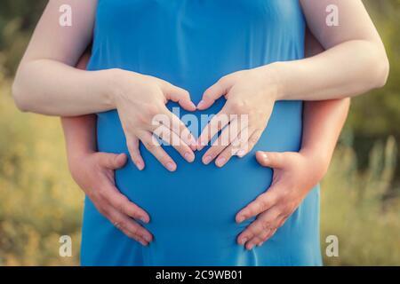 Schwangere Frau und ihr Mann stehen im Park und halten ihre Hände auf ihrem Baby Beule. Hände in Herzform. Nahaufnahme. Familie, Schwangerschaft, lov