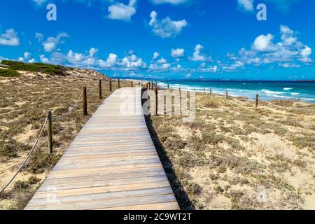 Holzsteg über den geschützten Sanddünen in Platja de Llevant, Formentera, Spanien - Stockfoto