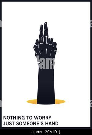 Geste von zwei Fingern nach oben. Schwarzweiß-Minimaldarstellung. Vektordesign-Elemente - Stockfoto