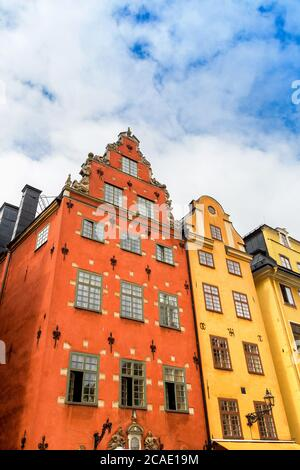 Ältester mittelalterlicher Stortorget Platz in Stockholm, Gamla Stan an einem Sommertag - Stockfoto