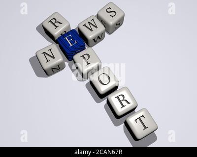 nachrichtenbericht Kreuzworträtsel nach Würfelbuchstaben. 3D-Illustration. Hintergrund und Geschäft