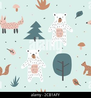 Kindliche nahtlose Muster mit niedlichen Bär Fuchs und Eichhörnchen. Kreative Textur für Stoff, Textil - Stockfoto