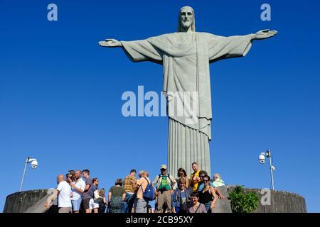 Brasilien Rio de Janeiro - Monte Corcovado mit Statue von Jesus Christus der Erlöser - Cristo Redentor - Stockfoto