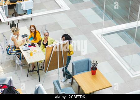 Gemischtes Rennteam arbeitet mit Whiteboard im Büro. Draufsicht Foto. Copy space.Afro Geschäftsfrau, die Präsentation zu Führungsteam Stockfoto