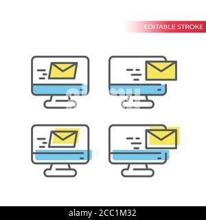 Computermonitor mit Symbol für dünne Buchstaben. E-Mail-Symbol, Bildschirm mit E-Mail-Umschlag, Umriss mit farbenfroher Füllung, bearbeitbarer Strich. Stockfoto