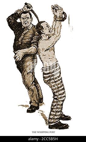 Vereinigte Staaten von Amerika - Verbrechen & Bestrafung - PEITSCHEN PFOSTEN oder RING - EINE 1910 Abbildung zeigt ein In amerikanischen Gefängnissen wird damals noch immer bestraft Und stark von den Gefängnisbehörden in einigen Staaten befürwortet Zu diesem Zeitpunkt - Stockfoto