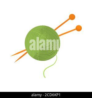 Ball aus grünem Garn mit orangefarbenen Stricknadeln. Vektorgrafik mit flachem Design und Textur, isoliert auf weißem Hintergrund. Cartoons-Stil.