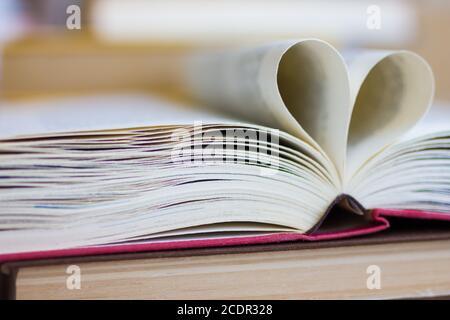 Buch mit herzförmigen Seiten geöffnet