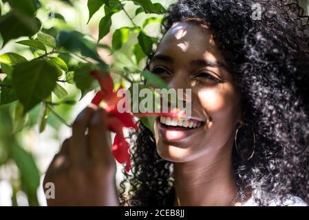 Nachdenklich glücklich junge schwarze Frau von Blumen umgeben Stockfoto
