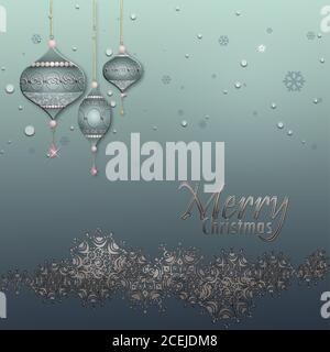 Weihnachten und Happy New Year Hintergrund mit silbernen Rand von Schneeflocken, Luxus blaue Kugeln Kugeln auf pastellgrün metallischen Hintergrund. Text-Frohe Weihnachten. 3D-Illustration - Stockfoto