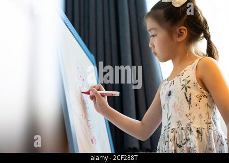 Asiatische Mädchen Grundschülerin Zeichnung auf Whiteboard zu Hause als Online-Aufgabe von der Schule, während Stadt Lockdown von COVID-19 Pandemie. Zu Hause Stockfoto