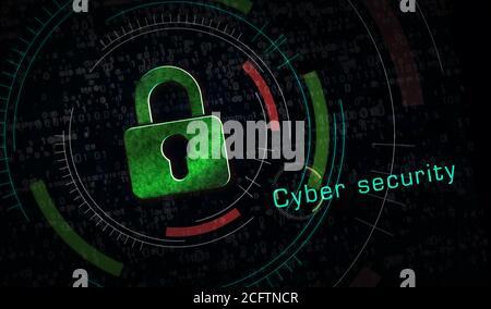 Cyber-Sicherheit, Computerschutz, digitale Sicherheitstechnik mit Metallsymbolen für Vorhängeschloss. Abstraktes Konzept 3d Rendering Illustration.
