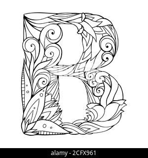 Schwarz-weiße Freihandzeichnung Großbuchstabe B mit floralem Doodle-Muster. Vektorelement für Ihr Design Stockfoto
