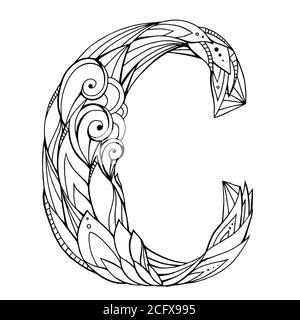 Schwarz-weiße Freihandzeichnung Großbuchstabe C mit floralem Doodle-Muster. Vektorelement für Ihr Design Stockfoto