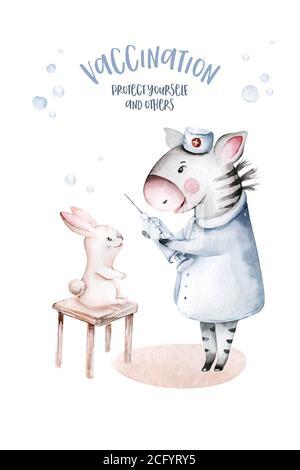 Cute Cartoon Tierarzt, Pillen, Krankenwagen, Maske, Bakterien, Viren, Coronavirus. Aquarell Hand gezeichnet junge und Mädchen Arzt Set - Stockfoto