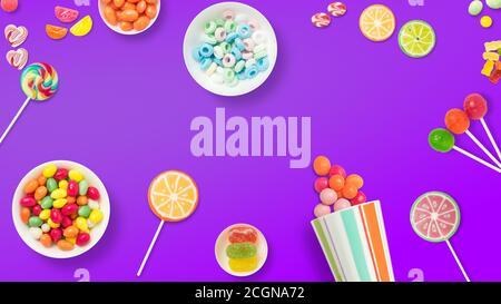 Lutscher und Bonbons. Bunte Süßigkeiten, festliche Dekoration. Bunte Bonbons auf violettem Hintergrund, Draufsicht mit Platz zum Kopieren von Nachrichten oder Grußformeln - Stockfoto