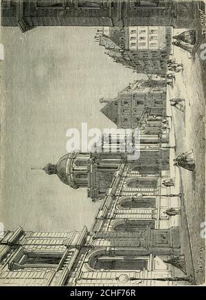 . Les merveilles du nouveau Paris-- . -Royal. Louis XIV le Donna plustard au duc dOrléans, son frère, et depuis cette époque il aété lapanage des Princes du sang. UN incendie détruisit lafaçade en 1763; Louis-Philippe dOrléans, Petit-fils durégent, chargea Moreau de le reconstruire entièrement. Ilfit aussi élever autour du jardrn ces magnifiques galeries oùlindustrie parisienne étale ses plus belles productions dor-fèvrerie et de bijouterie. Les vieux marronniers de Richelieutombaient pour faire place à ces constructions. La façadedonnant sur le jardin devait être édifiée sur un Plan gran-dios