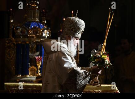 Patriarch Kyrill von Moskau und ganz Russland hält einen Gottesdienst zur Weihe der renovierten Kathedrale der Geburt der Gottesmutter in Rostow am Don, Russland 27. Oktober 2019. REUTERS/Sergey Pivovarov