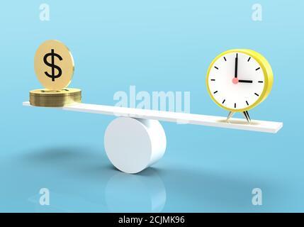 3D-Rendering von Stapel von Gold-Dollar-Münze balancieren mit Wecker auf Wippe vor blauem Hintergrund. Zeit ist Geld Konzept