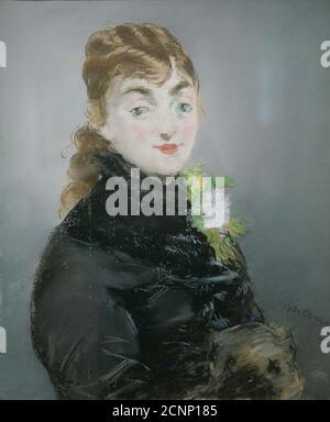 Méry Laurent mit einem Pug, 1882. Gefunden in der Sammlung des Staatlichen A. Puschkin-Museums der Schönen Künste, Moskau. - Stockfoto