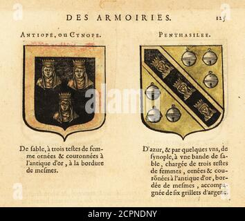 Imaginäre Wappen der Königinnen der Amazonen Antiope mit drei gekrönten Frauenköpfen und Penthesilea mit drei gekrönten Frauenköpfen und sechs silbernen Glocken. Neun Würdige Frauen. ANTIOPE OU CYNOPE, PENTHASILEE. Handkolorierter Holzschnitt aus Hierosme de Bara's Le Blason des Armoiries, Chez Rolet Bouton, Paris, 1628 - Stockfoto