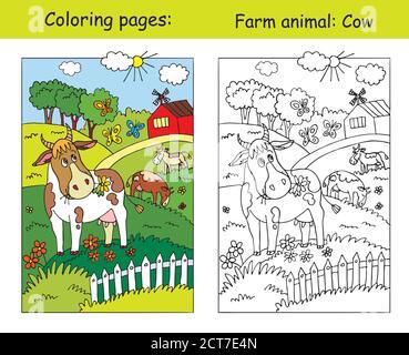 Malvorlagen mit niedlichen Kuh Gracing auf der Farm Wiese. Cartoon Vektorgrafik. Färbung und farbige Bild der Kuh. Stock Illustration für Design - Stockfoto