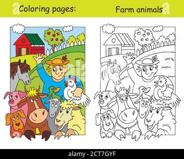 Malvorlagen mit glücklichen Landwirt und seine Nutztiere. Cartoon Vektorgrafik. Färbung und farbige Bild von Nutztieren. Abbildung für - Stockfoto
