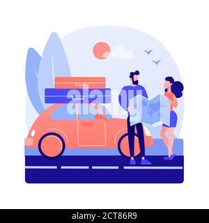 Roadtrip abstrakte Konzept Vektor-Illustration. - Stockfoto