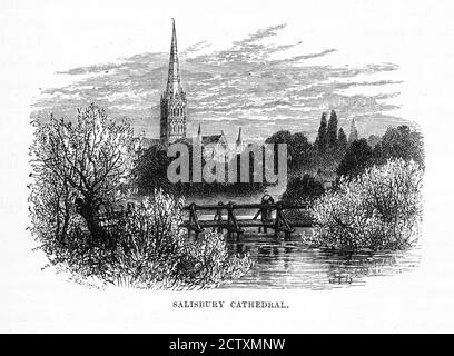 Die Kathedrale von Salisbury, Salisbury, England im Viktorianischen Gravur