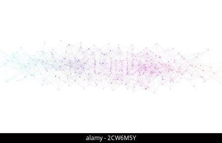 Abstrakte Digitale Netzwerk Verbindung Struktur auf blauem Hintergrund. Künstliche Intelligenz und Technik Konzept. Globales Netzwerk große Datenmengen