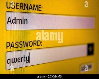 Nahaufnahme des Anmelde- und Passwortbildschirms auf dem LED-pc-Display. Melden Sie sich in Textfeldern an: Benutzername: Admin und Passwort: qwerty - Stockfoto