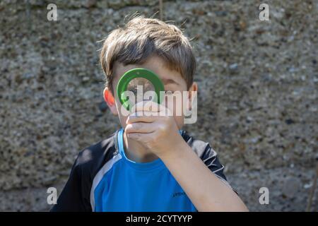 Sechs Jahre alter Junge schaut durch eine Lupe in seinem Garten, während er nach Insekten sucht, England, Großbritannien Stockfoto