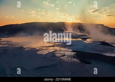 Mammoth Hot Springs, Canary Terrace Overlook, Yellowstone National Park, Wyoming, USA