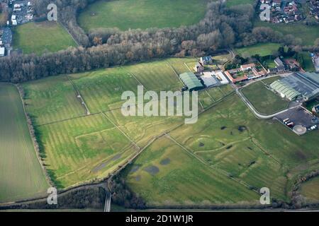 Stainsby mittelalterliches Dorf und offenes Feldsystem, Middlesborough und Stockton-on-Tees, Großbritannien. Luftaufnahme.