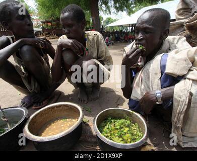 Eine Vertriebenen sudanesischen frisst Baumblätter während des Besuchs des UNO-Untergeneralsekretär für humanitäre Angelegenheiten John Holmes in der Akobo Stadt im Süd-Sudan Jonglei Zustand 8. Mai 2009. Stammes-Gewalt im Südsudan, die Hunderte von Menschen, in den letzten Wochen getötet hat ist besorgniserregend und die Region nicht leisten können, einen weiteren Krieg, sagte Holmes am Freitag. Angriffe, die aus Streitigkeiten über Rinder haben in den letzten Monaten im Südsudan zwischen zwei rivalisierenden ethnischen Gruppen in einem Gebiet eskaliert, wo Vieh sind vom südlichen Hirten geschätzt und stehen für Reichtum, Status und Stabilität in angespannten Zeiten.  R