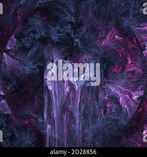 Computergenerierter abstrakter fraktaler Hintergrund. Rosa blaue und violette Farben