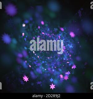 Computer erzeugt violett lila und rosa Farben glühende Sterne Formt fraktalen Hintergrund